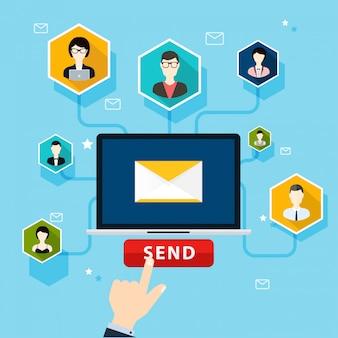 Execução de campanha por email, publicidade por email, marketing digital direto.