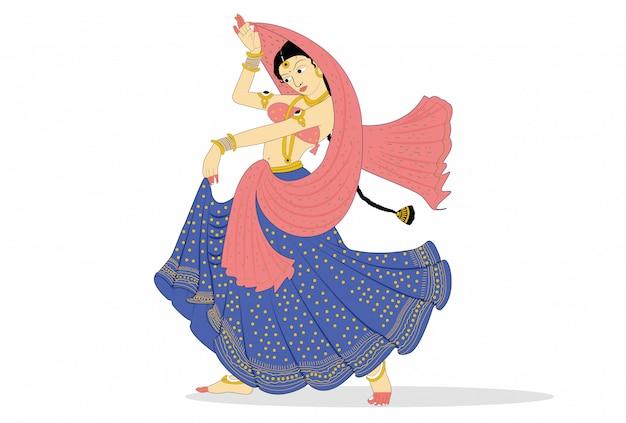 Execução de dançarina clássica indiana