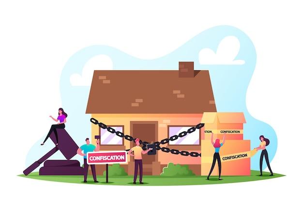 Execução de hipoteca em leilão de imóveis em licitação de bens confiscados. julgamento conflito processo por não pagar dívida doméstica. venda de pessoas e confisco de compra. ilustração em vetor de desenho animado