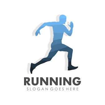 Execução de homem, jogging e marathon logo template design