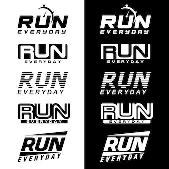Execução de logotipo executado treino diário de treinamento esportivo de logotipo mantê-lo funcionando
