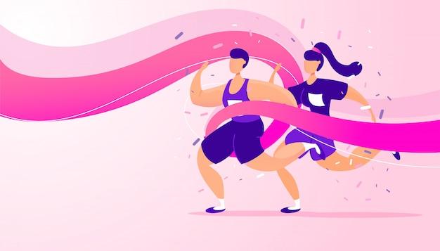 Executando a competição, atleta esportista, equipe correr distância de maratona no estádio
