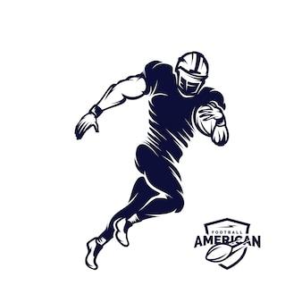 Executando a silhueta de logotipo de jogador de futebol americano, logotipo de futebol americano