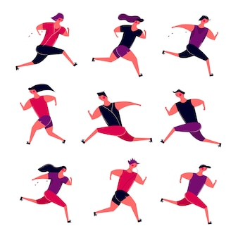 Executando o grupo de pessoas em movimento. mulheres movimentando-se dos homens que treinam ao ar livre. corredores se preparar para a saúde de maratona de competição de esporte correndo de manhã