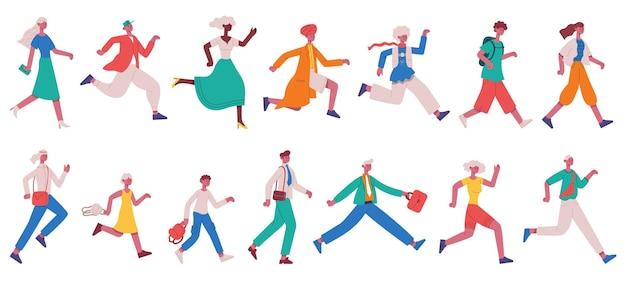 Executando pessoas apressadas. movimentando-se com personagens adultos e crianças, apressando o conjunto de ilustração vetorial de pessoas de negócios. corra correndo pessoas