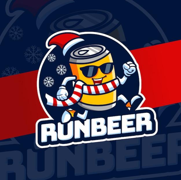 Executar o personagem de design de logotipo de mascote de cerveja
