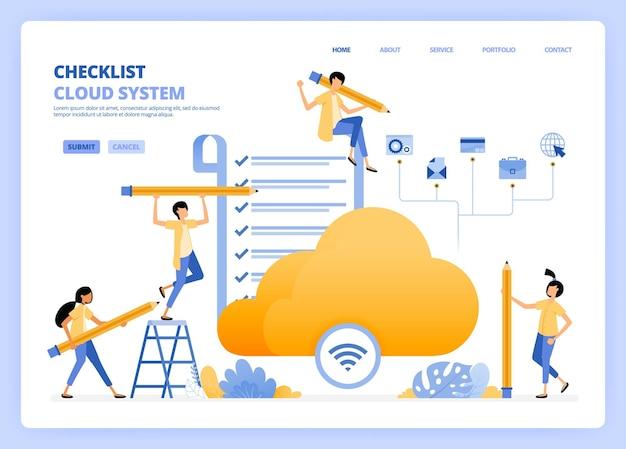 Execute verificações na ilustração de acesso à internet wi-fi e nuvem