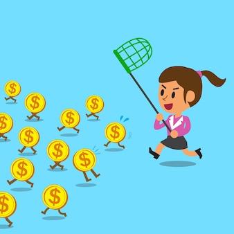 Executiva, correndo, pegar, dinheiro, moedas