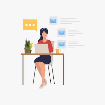 Executiva, respondendo, email, em, escritório
