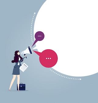 Executiva, segurando, megafone, com, falando, bolhas