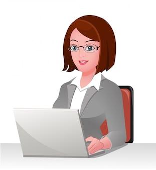 Executivo de negócios bonito com um laptop
