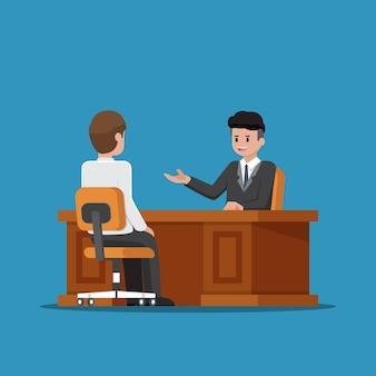 Executivo de negócios falando com seu empregado no escritório.