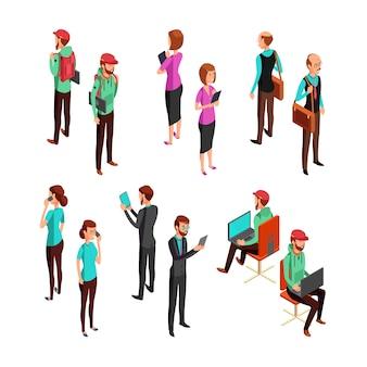 Executivos 3d isométricos isolados. conjunto de vetores de trabalho em equipe profissional homem e mulher de escritório