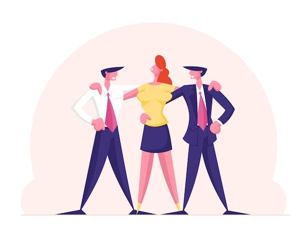 Executivos alegres se abraçando na linha equipe de gerentes grupo de trabalho em equipe perfeito