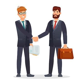 Executivos, apertando as mãos. parceiros fazendo negócios, tendo acordo de contrato. assinatura de documentos para investimento de dinheiro. reunião de negócios. personagens segurando uma pasta e uma ilustração vetorial de documentos