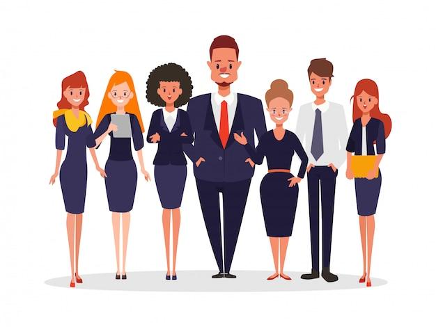 Executivos do caráter dos trabalhos de equipa que estão corporativos.