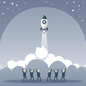 Executivos do grupo que olha o conceito novo do desenvolvimento da estratégia de stratup do navio de espaço do lançamento