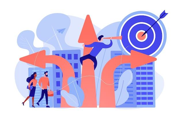 Executivos e funcionários escolhendo uma nova seta de direção de carreira com alvo