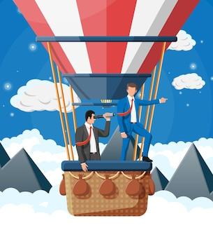 Executivos em balão de ar. empresário com luneta. trabalho em equipe, colaboração. buscando solução e estratégia de negócios. objetivo de carreira de visão de negócios de realização de sucesso. ilustração vetorial plana