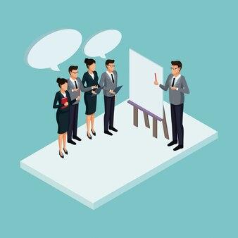 Executivos no conceito isométrico de reunião de negócios