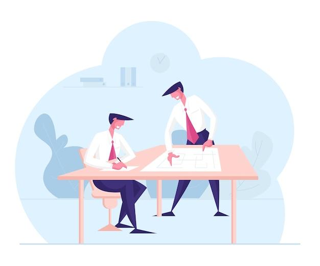 Executivos personagens discutem projeto no escritório empresa grupo de trabalho em equipe