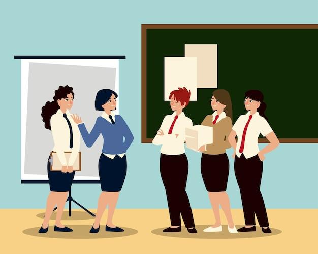 Executivos, reunindo-se com funcionárias para discutir o planejamento do trabalho