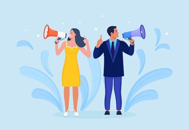 Executivos segurando megafone e gritando através dele. anúncio de boas notícias. atenção por favor. alto-falante com alto-falante, megafone. propaganda e promoção. marketing de mídia social