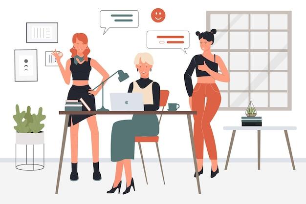 Executivos, sucesso, trabalho em equipe, mulheres, funcionárias, colegas, felizes em trabalhar em equipe