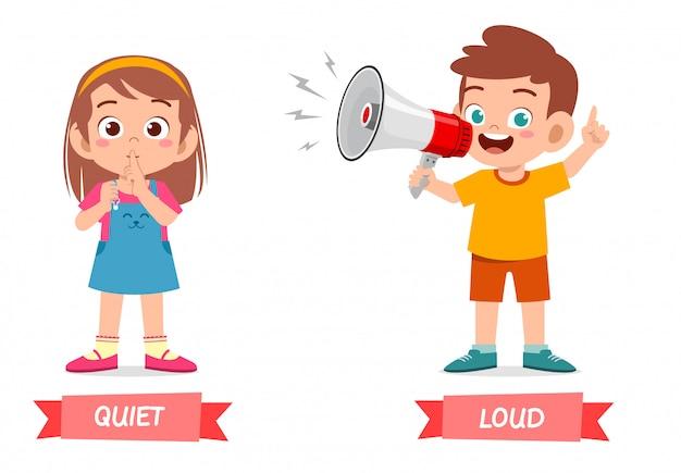 Exemplo bonito da palavra oposta antonim para criança