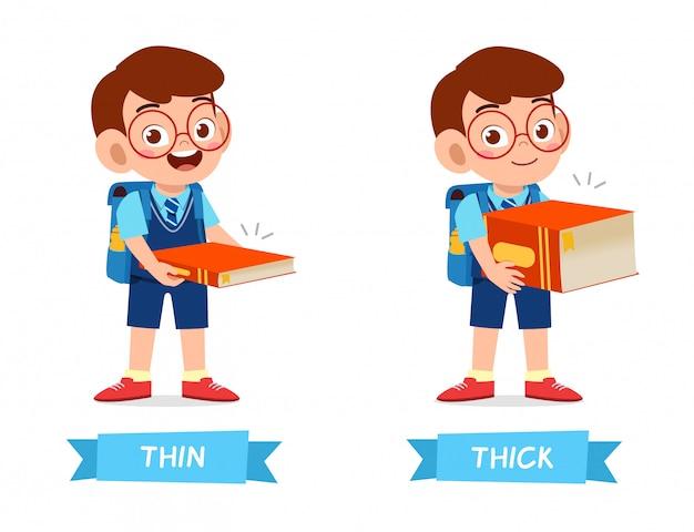 Exemplo bonito de antônimo de palavra oposta para criança