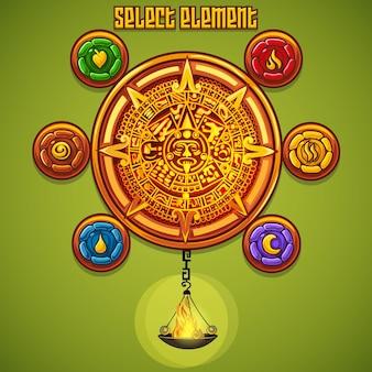 Exemplo da janela de seleção de elementos para o jogo