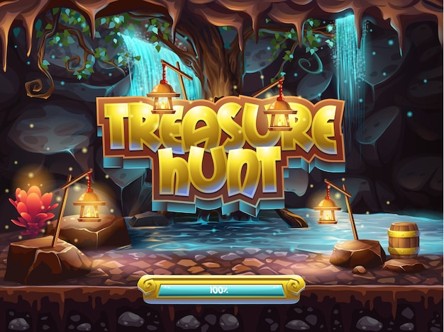 Exemplo da tela de inicialização para jogar caça ao tesouro.