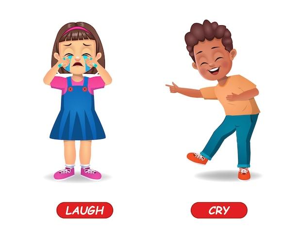 Exemplo de palavra oposta de adjetivos para crianças. isolado no branco