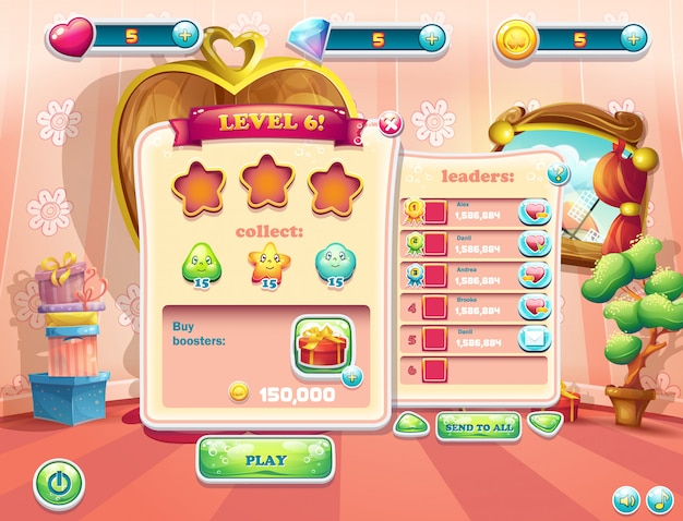 Exemplo de telas de interface de usuário começando de um novo nível de jogos de computador