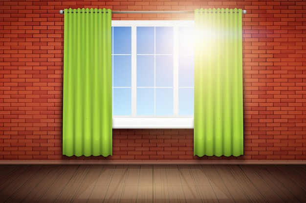 Exemplo de uma sala vazia com janela e parede de tijolo vermelho.