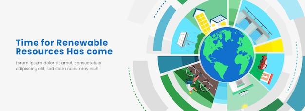 Exemplos de recursos de energia renovável com ilustração de globo terrestre em fundo branco. cabeçalho ou banner design.