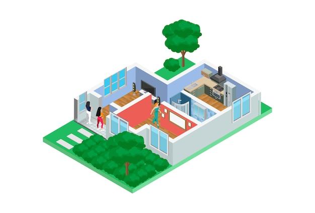 Exemplos isométricos de ilustração de esboços domésticos em 3d