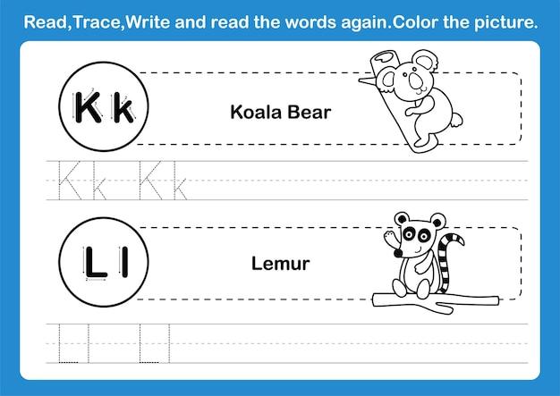 Exercício alphabet kl com vocabulário de desenho animado para ilustração de livro de colorir