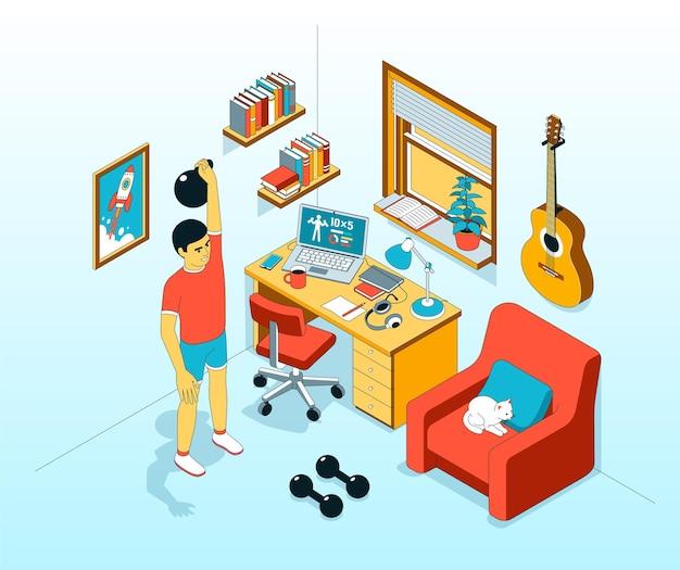 Exercício atlético em casa com ilustração isométrica com kettlebell