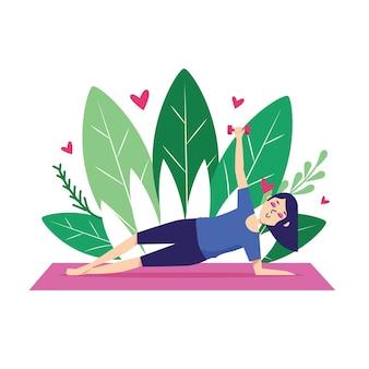 Exercício da jovem mulher ilustrado