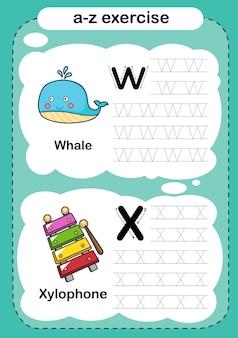 Exercício de alfabeto com vocabulário de desenho animado