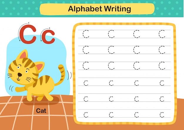 Exercício de alfabeto letra c-gato com ilustração de vocabulário dos desenhos animados