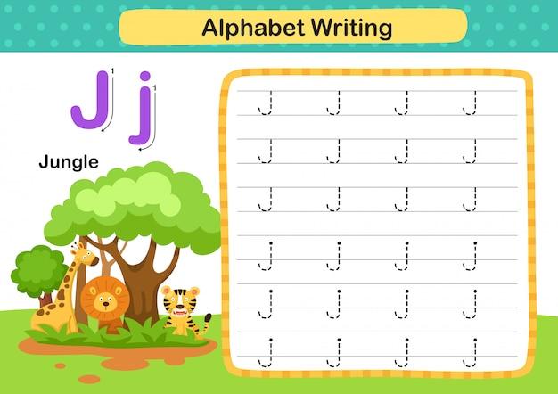 Exercício de alfabeto letra j-selva com ilustração do vocabulário dos desenhos animados