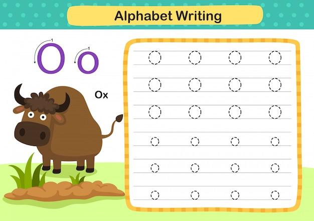 Exercício de alfabeto letra o-ox com ilustração do vocabulário dos desenhos animados
