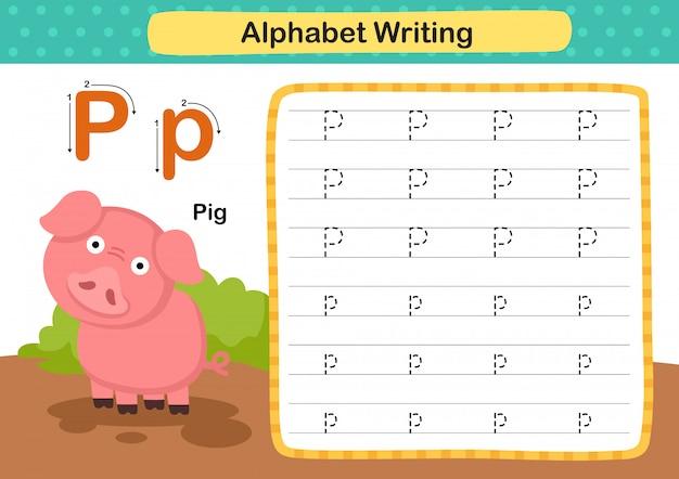 Exercício de alfabeto letra p-porco com ilustração de vocabulário dos desenhos animados