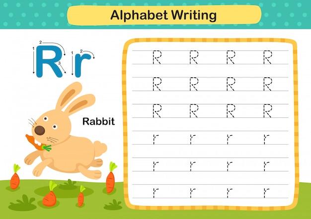 Exercício de alfabeto letra r-coelho com ilustração do vocabulário dos desenhos animados
