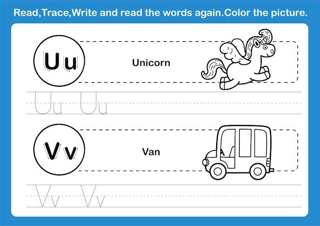 Exercício de alfabeto uv com vocabulário de desenho animado para livro de colorir
