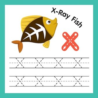 Exercício de alfabeto x com ilustração de vocabulário dos desenhos animados