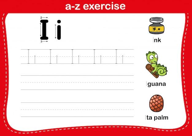Exercício de az do alfabeto com ilustração de vocabulário dos desenhos animados, vetor