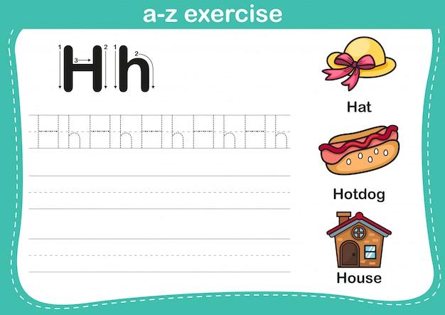 Exercício de az do alfabeto com ilustração de vocabulário dos desenhos animados